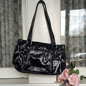 Genuine Leather Black Patent Shoulder Bag Purse